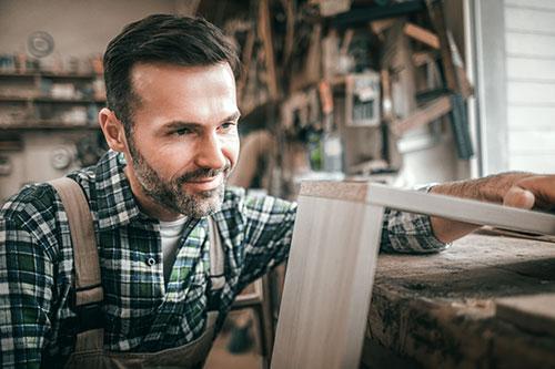Man building shelf