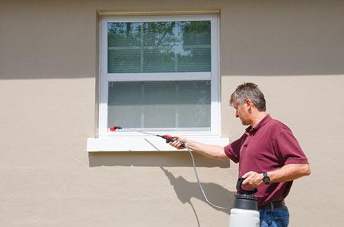 Man spraying window
